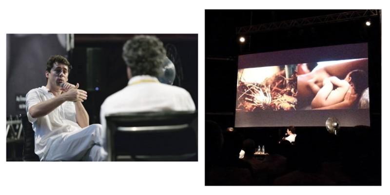 """A foto da esquerda é da Talita Virgínia e eu peguei no blog do festival. É o Christian sendo entrevistado pelo Milton Guran. A da esquerda é da Debora Monteiro, e eu peguei no blog Sweet Paraty (http://tinyurl.com/netnc9r). No telão, um dos dípticos do projeto recente do Christian, """"Ao firmamento viaja a mente, na terra descansa o corpo""""."""