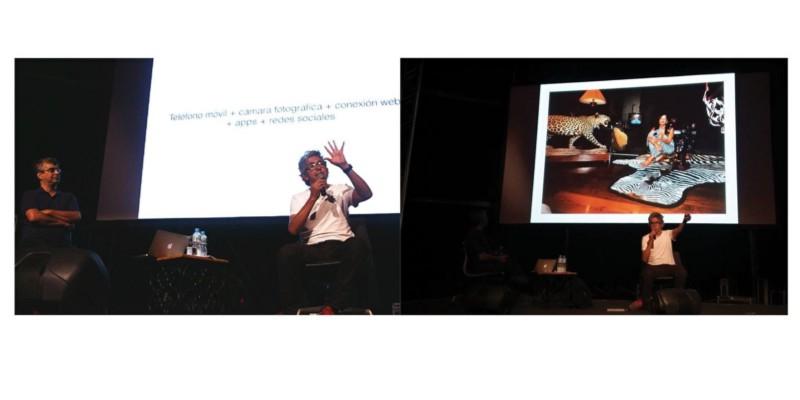 A foto da esquerda é da Bea Rodrigues, peguei no blog do festival. Aqui ele mostra a equação da Web 3.0, que ele acredita (e eu tb) que é o novo momento que vivemos na internet. A foto da direita é minha. Aqui ele mostra um ensaio de uma artista mexicana que retratou os quartos de algumas filhas de políticos do alto escalão do México e comparou a opulência meio brega (característica nossa, latinoamericana) com as ficções fotográficas do Marcus Lopes e as selfies das mulheres do narcotráfico que ele pegou do instagram. Show.
