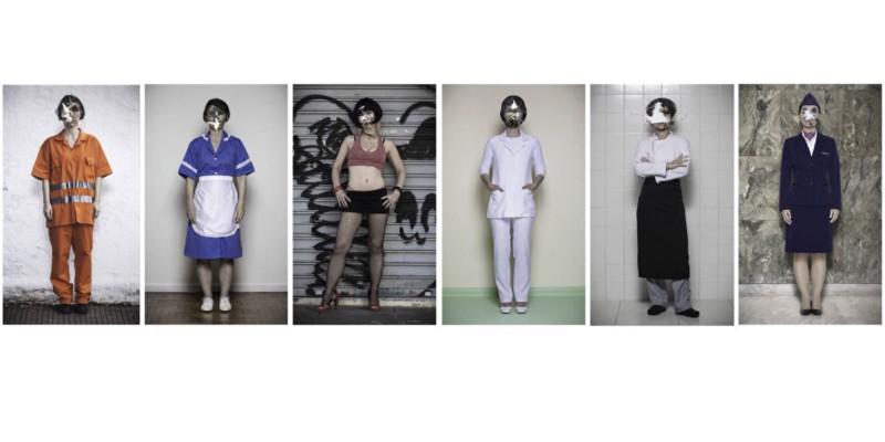 """Algumas fotos da série """"Fired"""", da Cris Bierrenbach. São ampliações maravilhosas em escala (tamanho real da artista) dela vestida com uniformes de mulheres em diversas profissões. Todas com um tiro na cabeça. Fired, em inglês, significa ao mesmo tempo """"demitida"""" e """"baleada"""". Brilhante jeito de discutir o feminicídio. A Cris é foda. Olha lá o site dela: crisbierrenbach.com"""